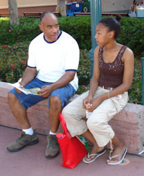 Grandpa and granddaughter Fernan taking a break in Disney World's Hollywood Studios