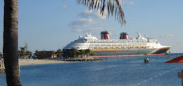 Looking At The Disney Wonder While Relaxing On Castaway Cay