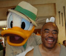 Donald Duck and Julius Covington having fun at  the Tusker House  Restaurant in the Animal Kingdom Theme Park at Disney World