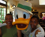 Donald Duck with my daughter Luvenia and  granddaughter Fernan