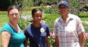 Cindy, my granddaughter Fernan and daughter Luvenia at the gardens before eating at Le Cellier Steakhouse